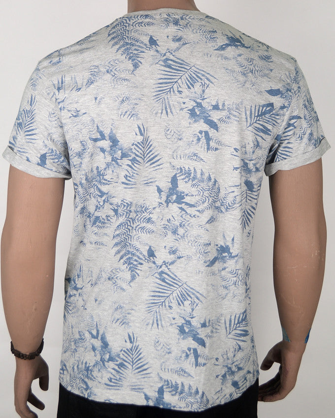 Grey T-shirt with Blue Leaf Pattern - Medium