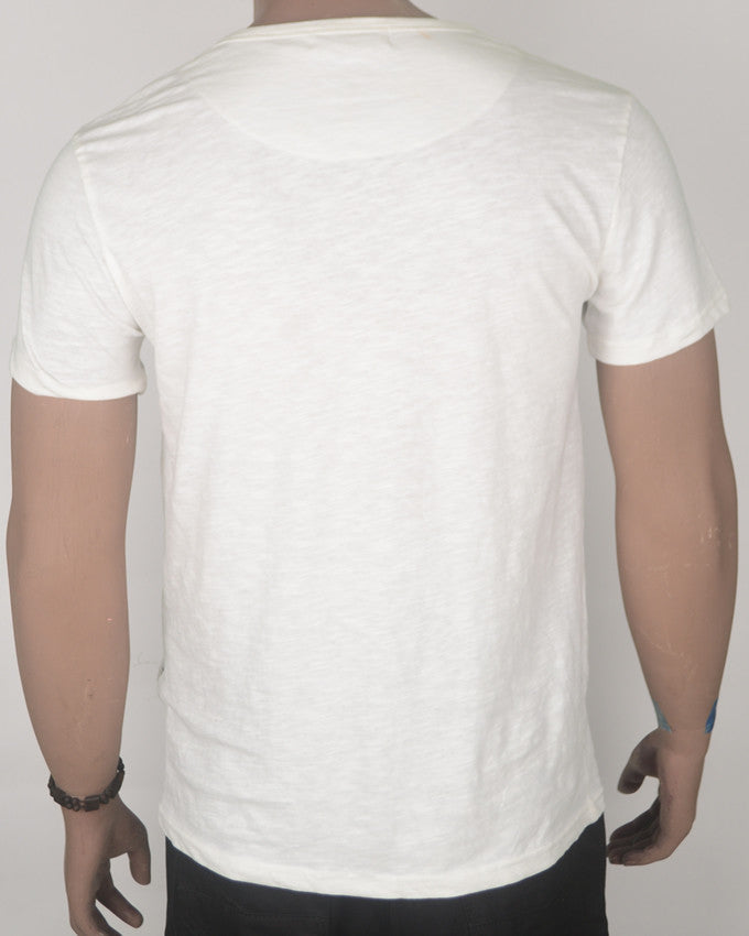 Buttoned White T-shirt with Patch Pocket - Medium