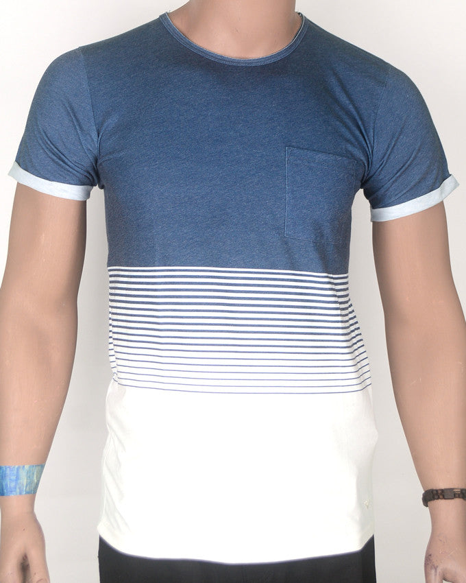 Blue Top with White Bottom T-shirt with Pocket - Medium