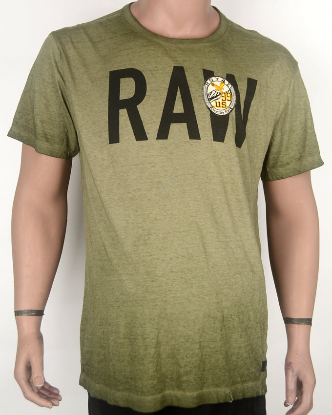 Raw Print Green Wash T-shirt - XL