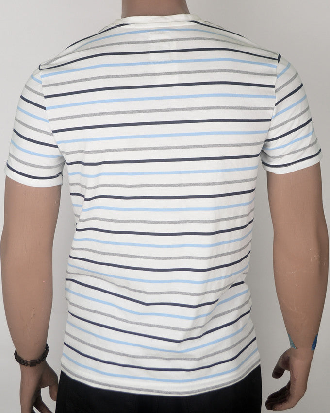 White Blue Grey Lines Slanting Pocket T-shirt - Medium