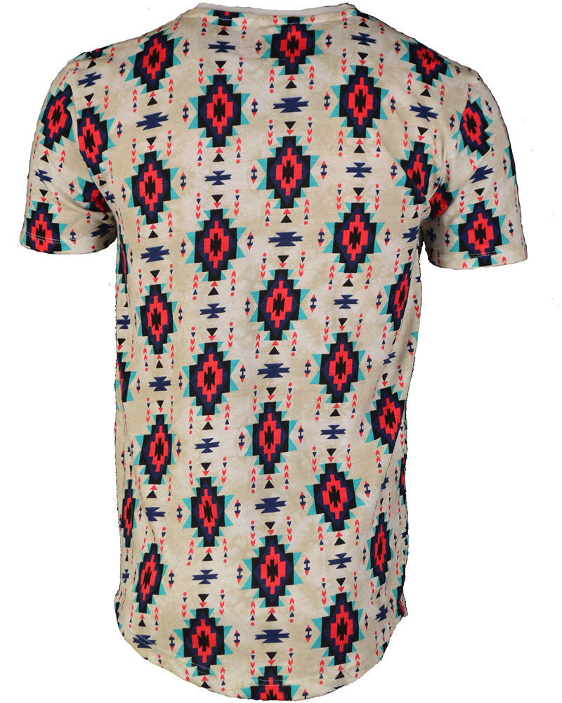 White & Red Pattern T-Shirt - Large