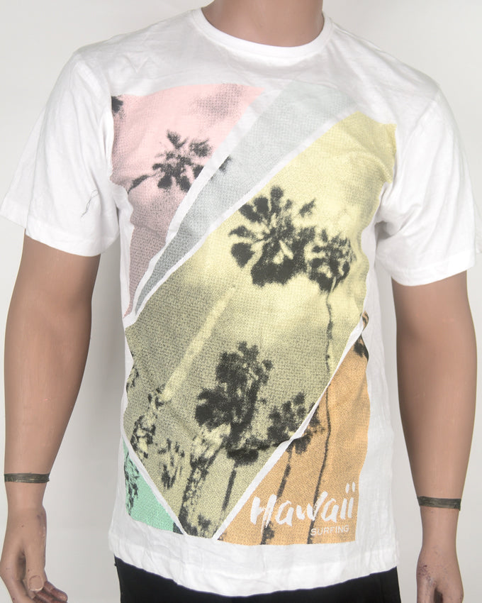 Hawaii Surfing Print White T-shirt - XL