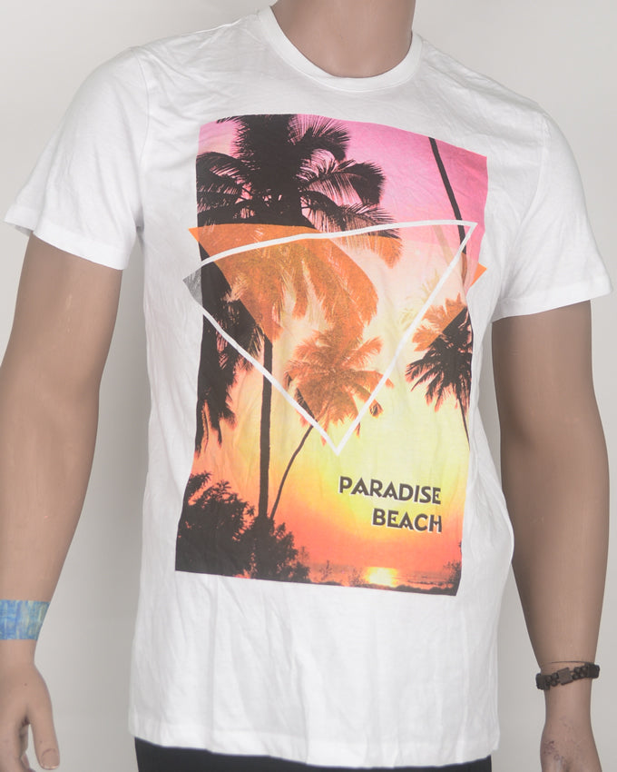 Paradise Print White T-shirt - Medium