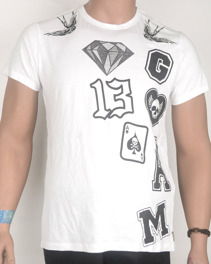 White T-shirt with Diamond Number Print - Medium