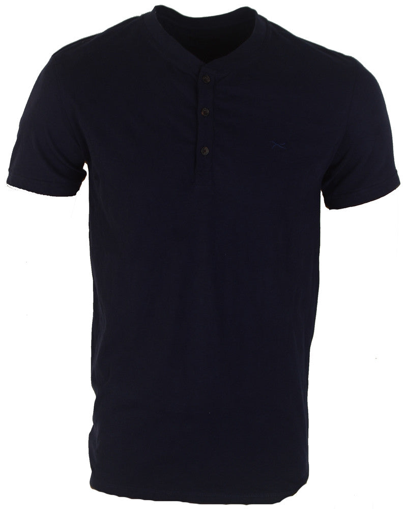 Plain Navy Blue Buttoned T-Shirt - Large