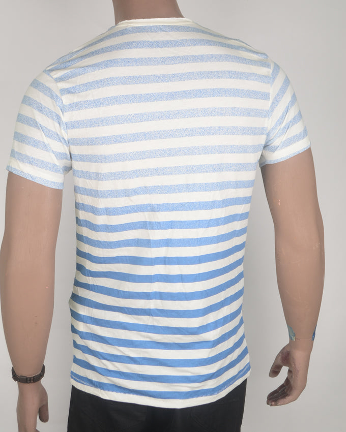 Blue Stripes Across White T-shirt - Medium
