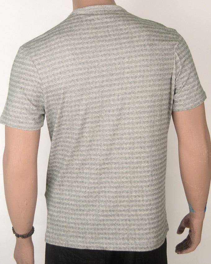 Grey Striped with Pocket - T-Shirt - Large