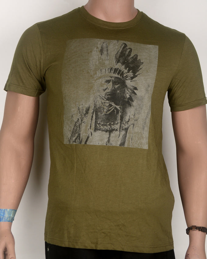 Indian Chief Brownish Green T-shirt - Medium