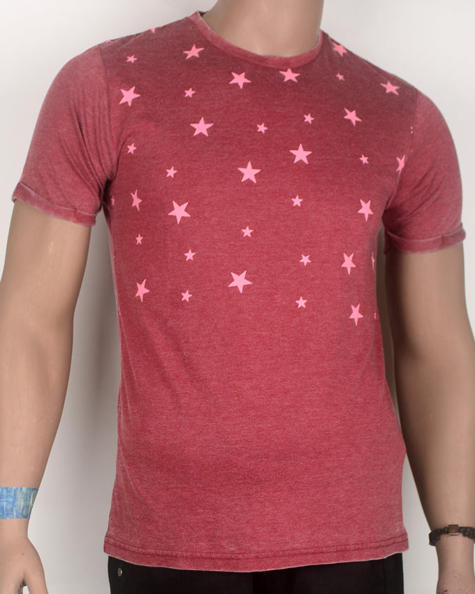 Star Print Dark Red T-shirt - Medium