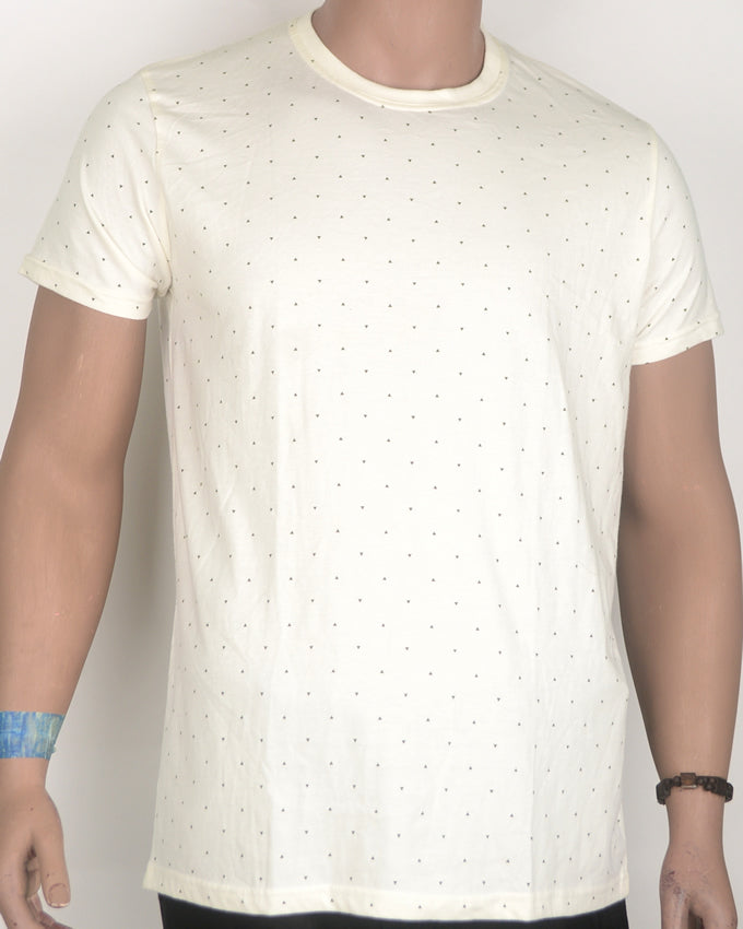 Plain with Dots Off White T-shirt - Medium