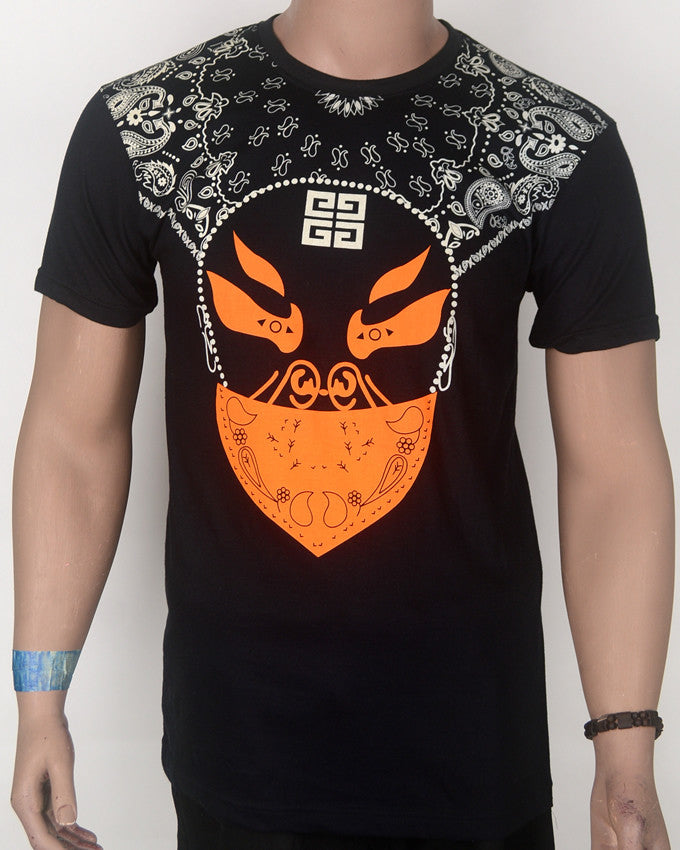 Skull Face Orange Design Black T-Shirt - Large