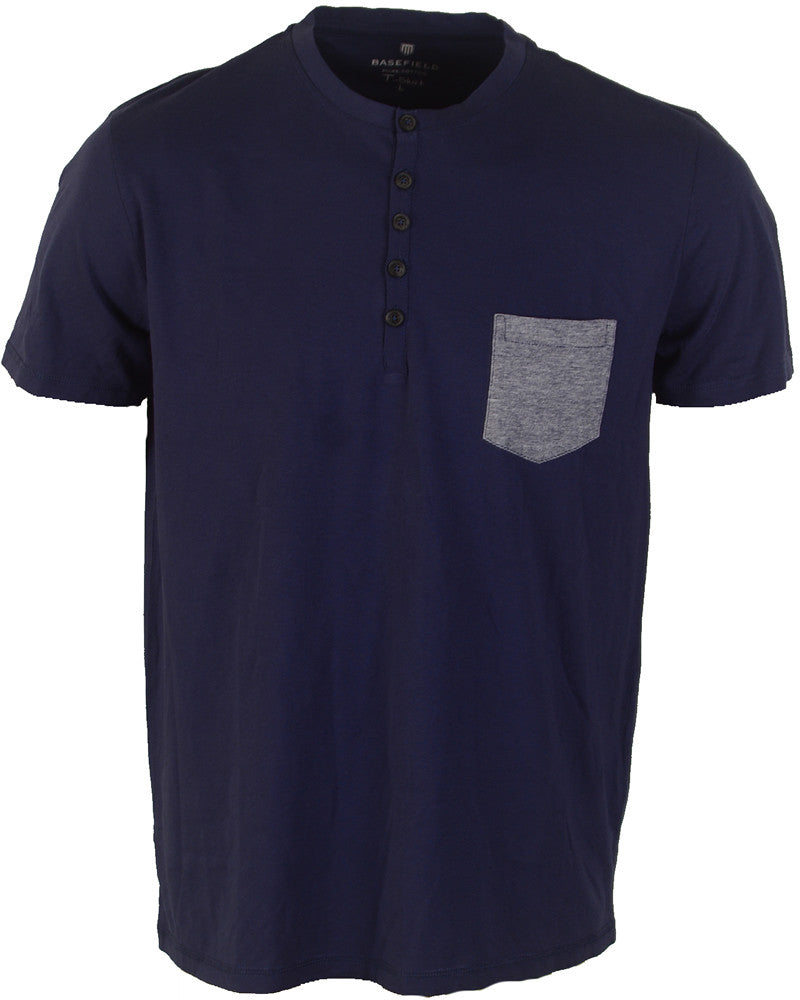 Buttoned T-Shirt With Pocket - Dark Blue - Large
