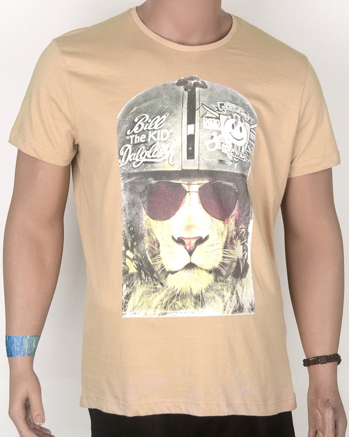 Billy Kid Lion Rider Print Brown T-Shirt - Large