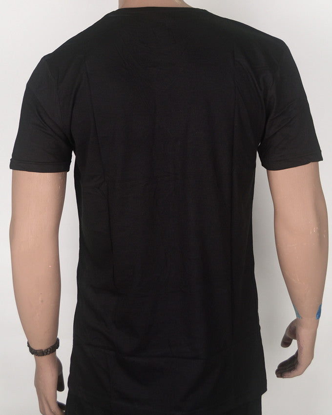Plain Black V-Neck T-shirt - Medium