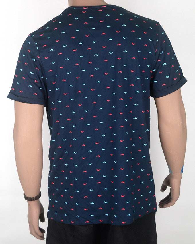 Red and Light Blue Print T-shirt - XL