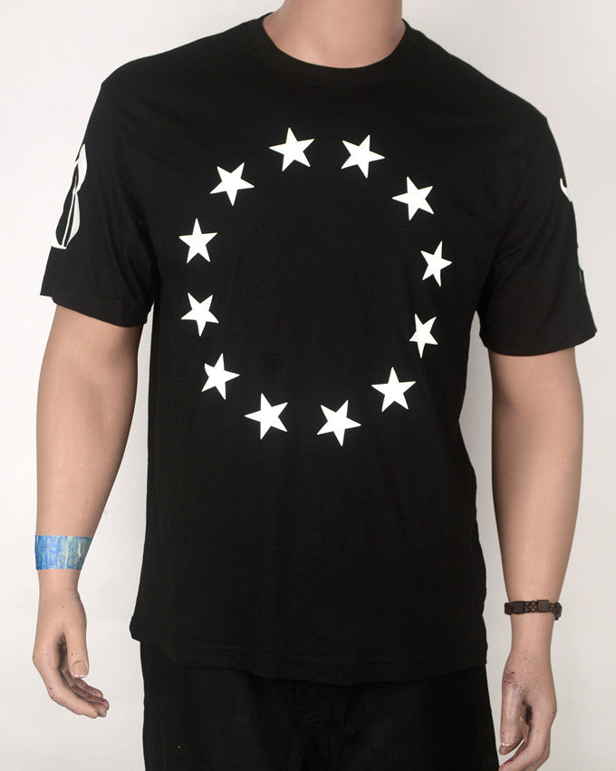 Star Circle Print T-shirt Black - XL