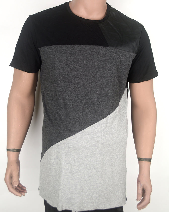 Patched Leather Grey T-shirt 1 - XL