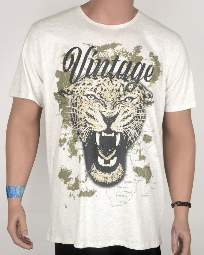 Vintage Tiger Print Grey T-shirt  - XL