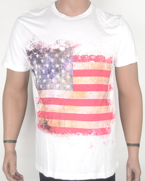 US Flag Print White T-shirt - XL