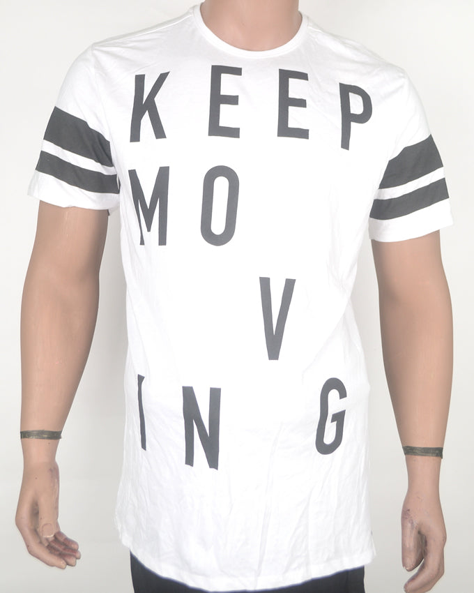 Keep Moving Print White T-shirt - XL