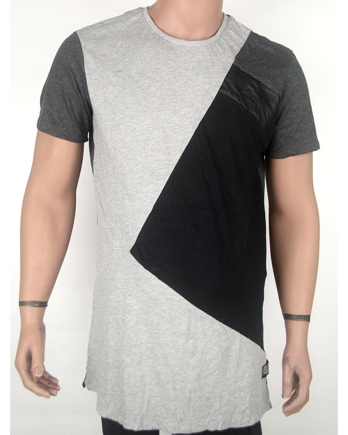 Patched Leather Grey T-shirt 3 - XL