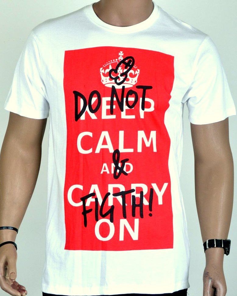 Keep Calm Print T-Shirt -  XL
