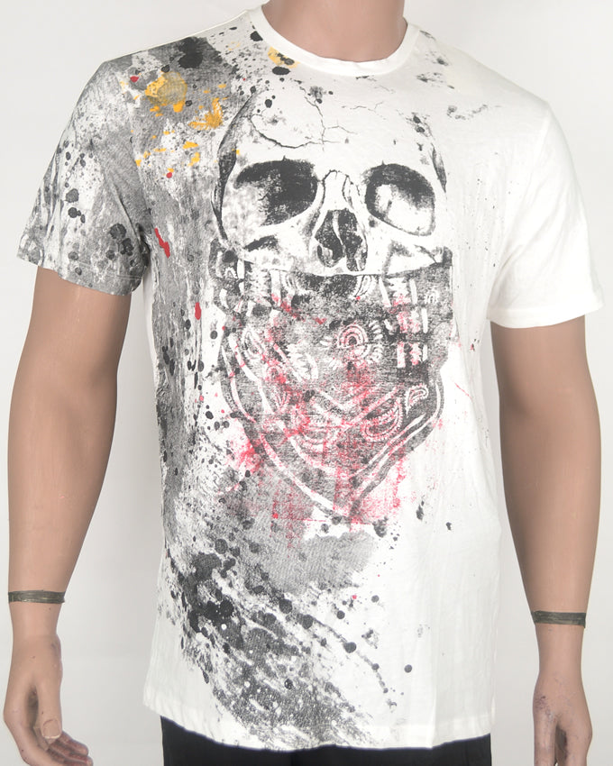 Skull Face Print White T-shirt - XL