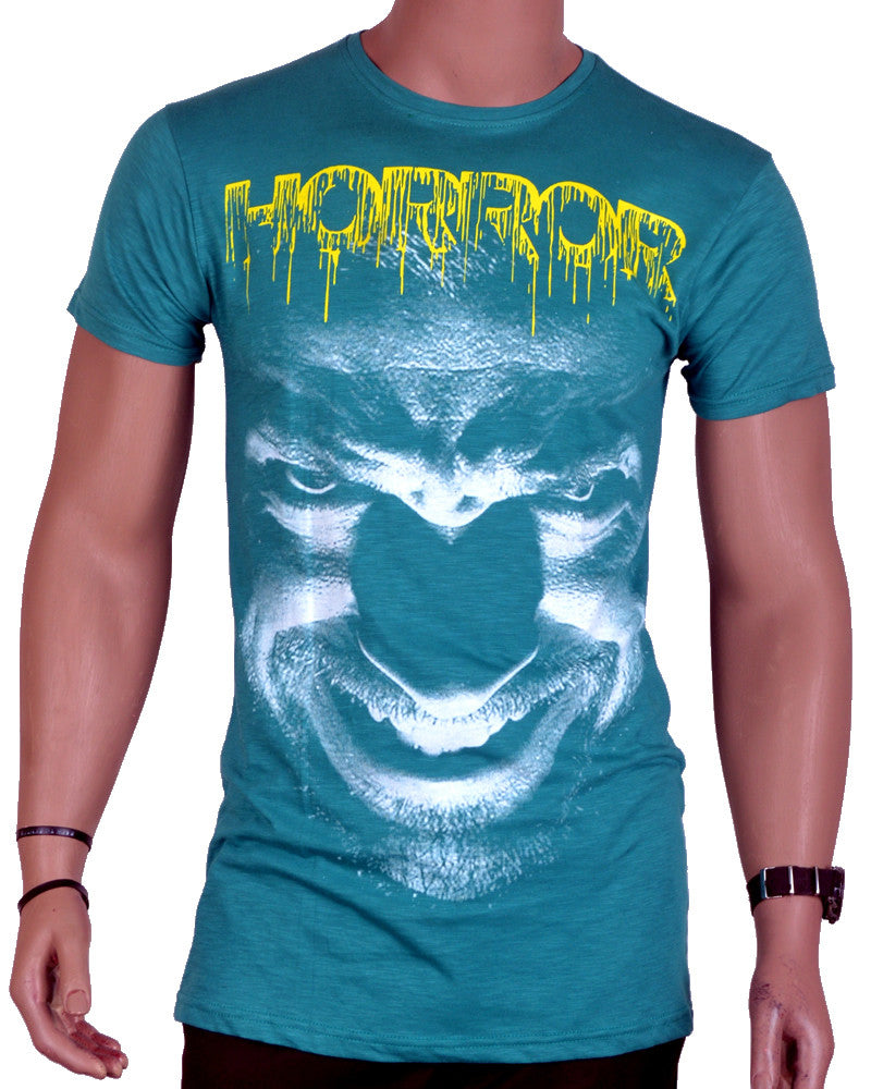 Horror Print T-Shirt - Green - Large