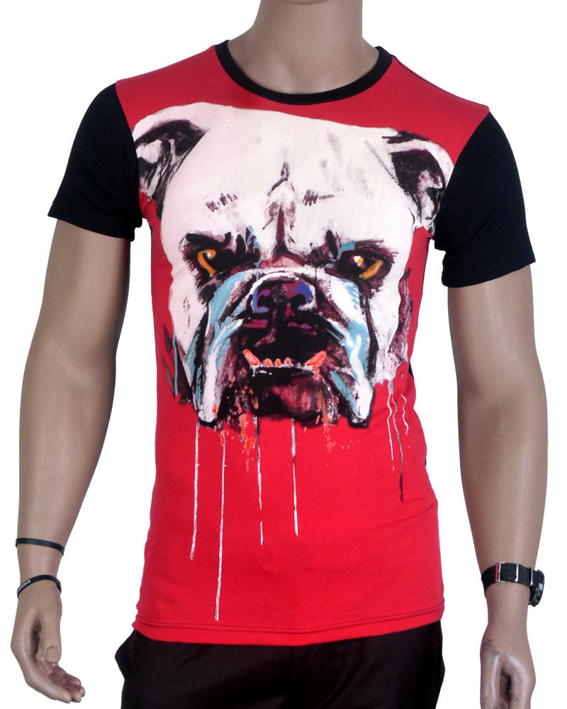 Drooling Bulldog T-Shirt - Red - Small