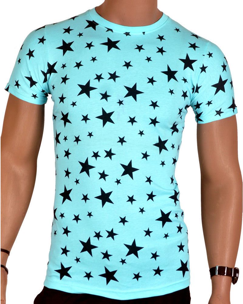 Star Print T-Shirt - Blue - Small