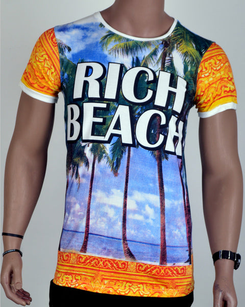 Rich Beach Print T-Shirt - Small