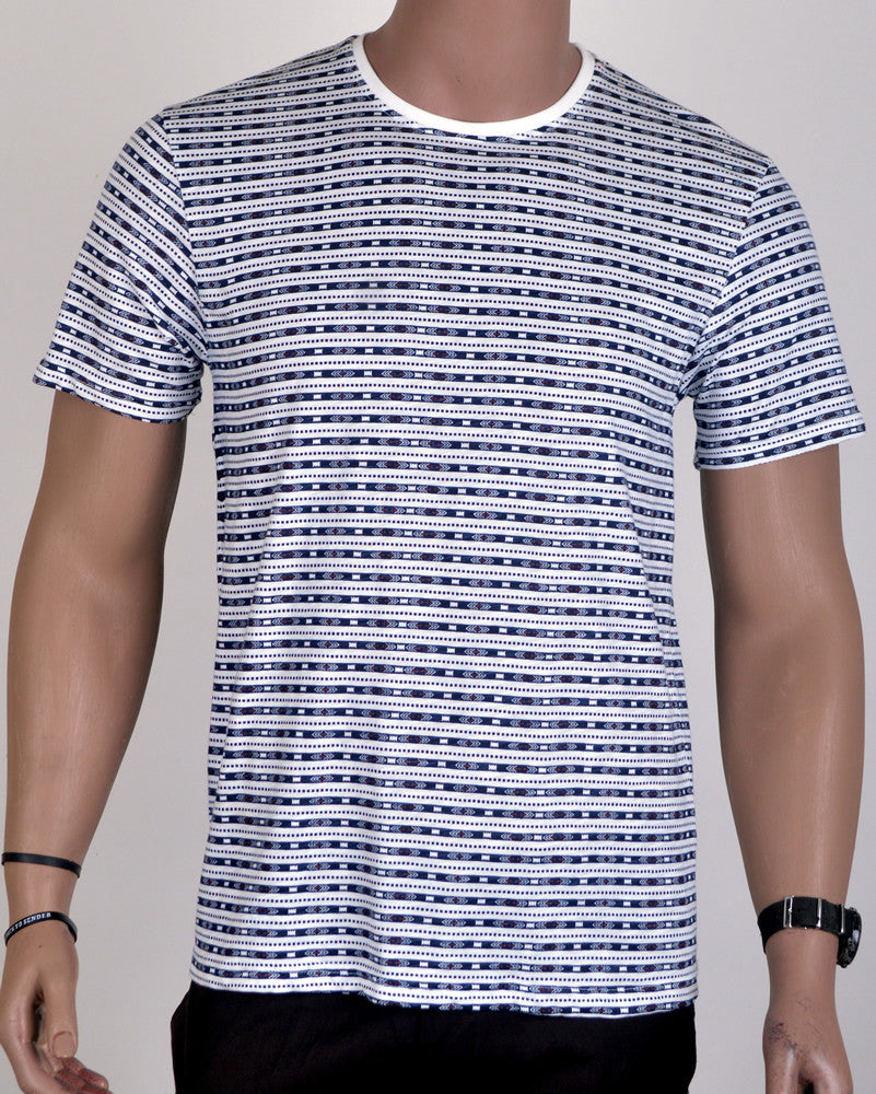 Patterned Design T-Shirt - White