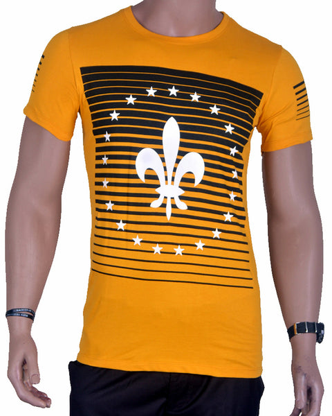 Star Print T-Shirt - Yellow - Medium