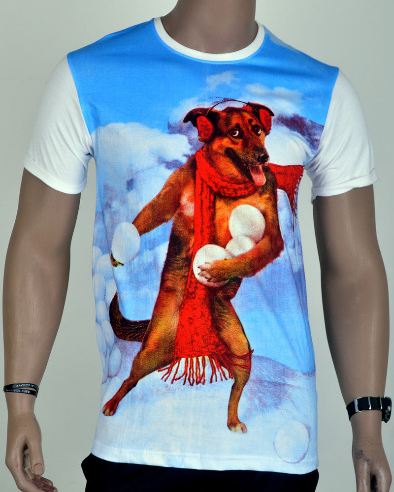 Snow Dog Print T-Shirt - White - Medium