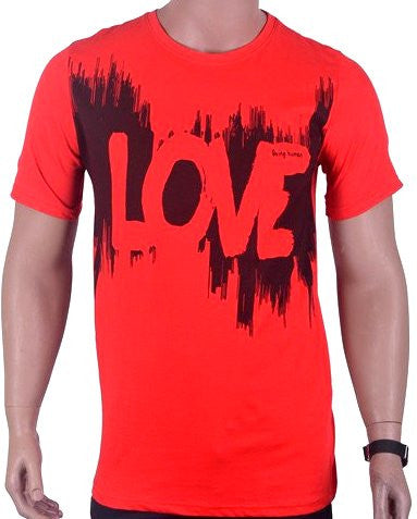Love Print T-Shirt - Red - Large