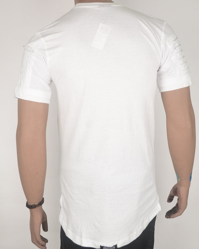 Zip Front Rugged Design White T-shirt - Medium