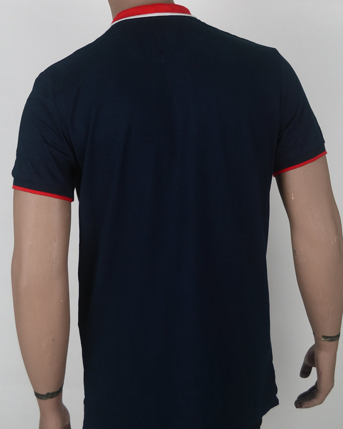 Plain Blue with Red Collar Polo  - Large