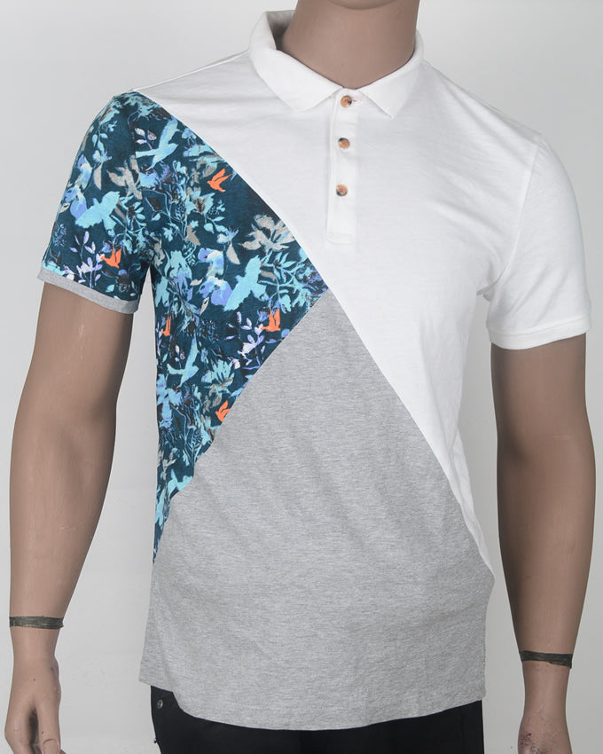 White Flower Print Polo  - Medium