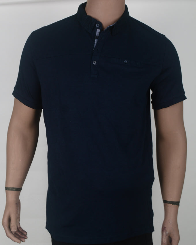 Plain Blue Polo  - Large