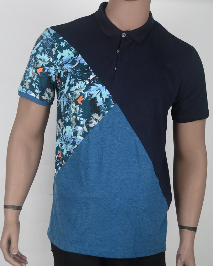 Blue Flower Print Polo  - Large