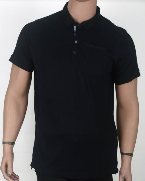 Plain Black Polo  - Small