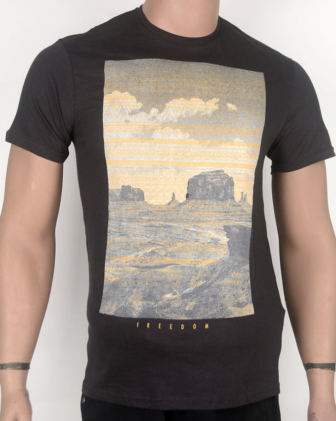 Freedom Landscape Dark Grey T-shirt - Small