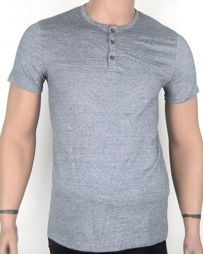 Plain Buttoned  Grey T-shirt - Small
