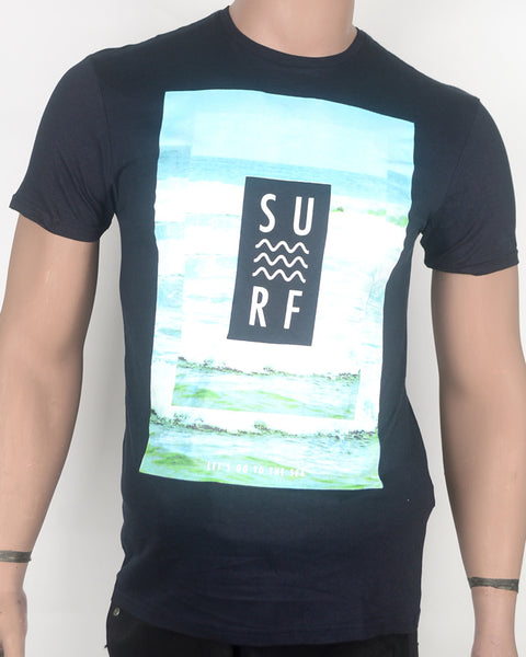 Surf Print Dark Blue T-shirt - Small