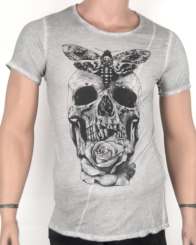 Moth and Skull Face Grey T-shirt - Small