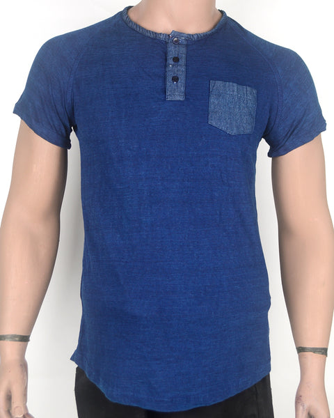 Plain Blue Denim Pocket T-shirt - Small