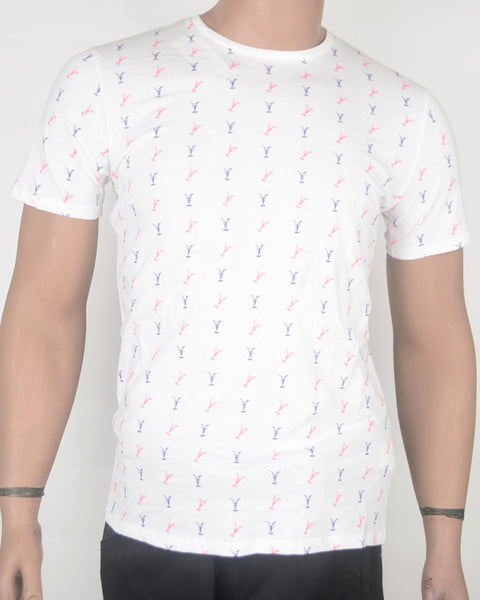 Cocktail Glass Print White T-shirt - Small