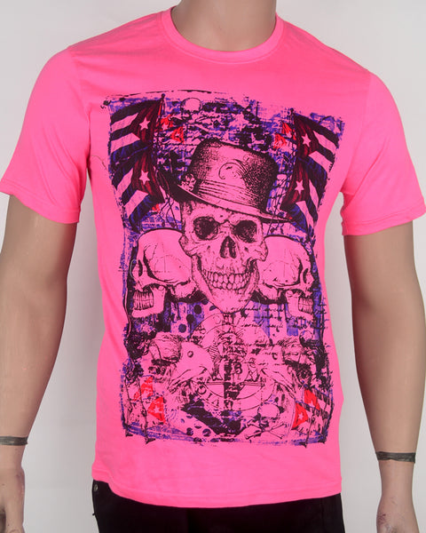 Skull Face Pink  T-shirt - Small