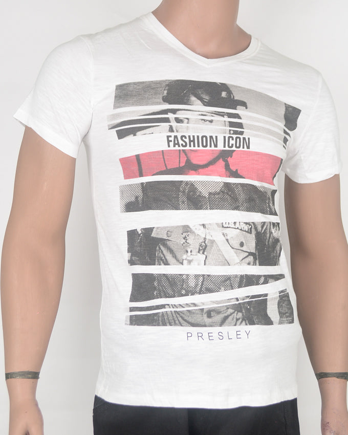 Fashion Icon Print White T-shirt - Small